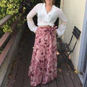 Vintage tie dye wrap maxi skirt